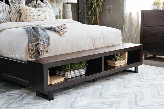 """53"""" Mid-Century Modern Storage Bed in Dark Brown"""