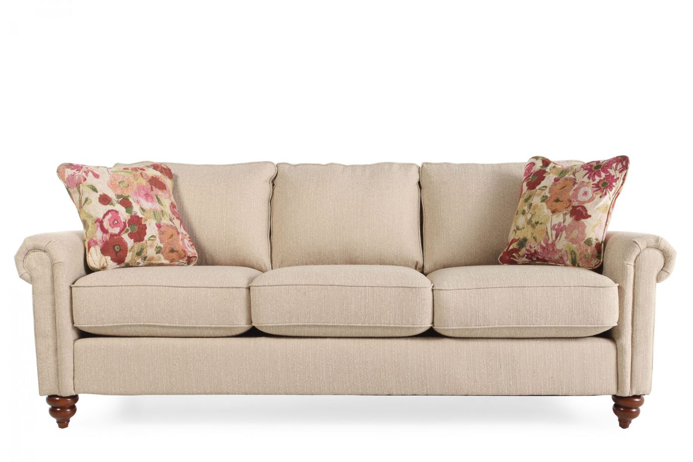 Contemporary 85 5 Rolled Arm Sofa In Sandstone