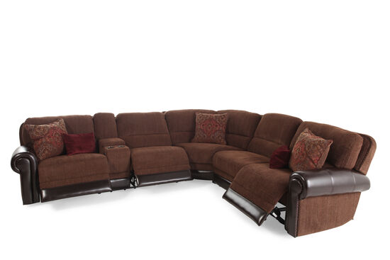 """Traditional 98"""" Tapestry Patterned Power Reclining Sectional in Dark Russet"""