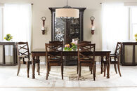 "Ashley 70""-88"" Turned Leg Traditional Dining Table in Rustic Brown"