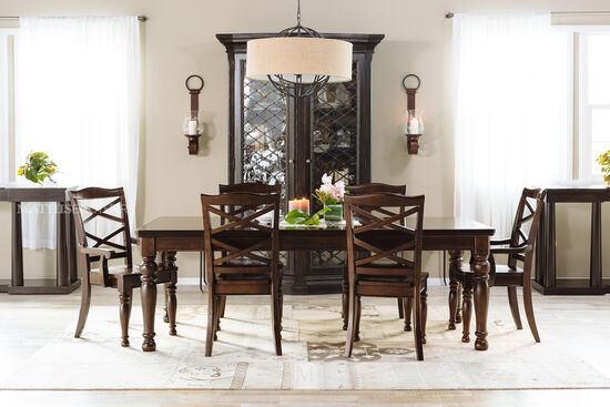 "Traditional 70"" to 88"" Dining Table in Burnished Brown"