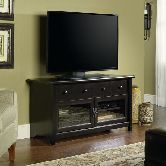 Tempered Glass Door Transitional Panel TV Stand in Estate Black