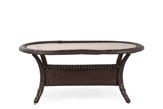 Casual All-Weather Wicker Oval Coffee Table in Medium Brown