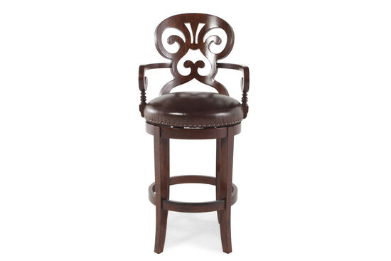 "Nailhead Accented 47"" Leather Bar Stool in Dark Brown"
