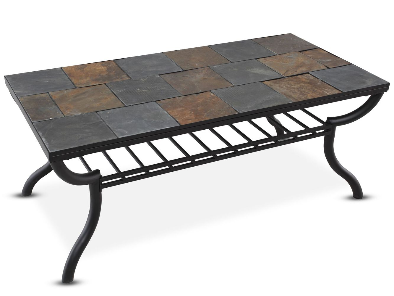 Tile top rectangular cocktail table in gunmetal mathis for Html table th always on top