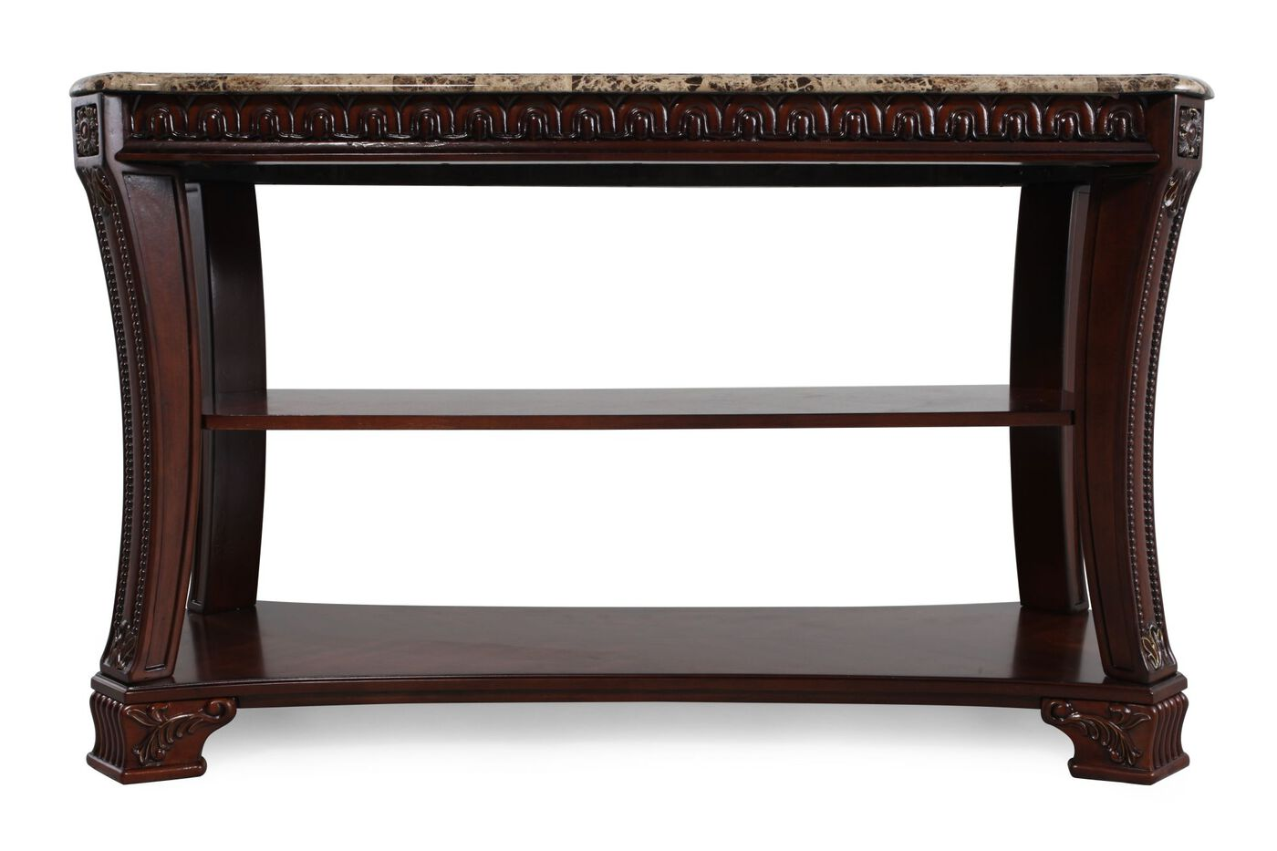 Two-Open Shelf Traditional Console Table in Dark Cherry ...