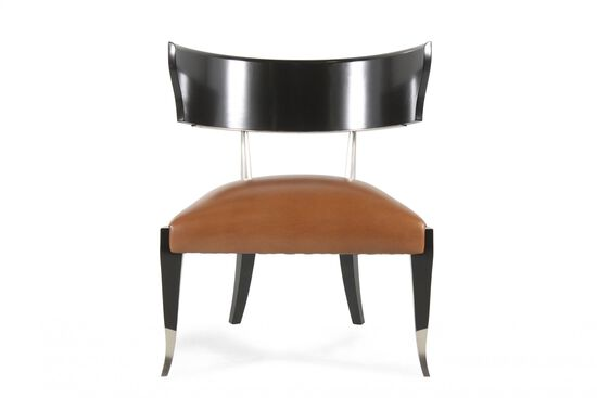 "Contemporary Leather 28"" Chair in Cognac"