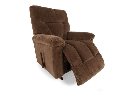 "Textured Contemporary 38"" Rocker Recliner in Bark Brown"