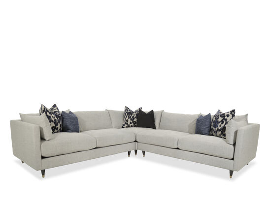 Three Piece Mid Century Modern Sectional in Stone Mathis Brothers