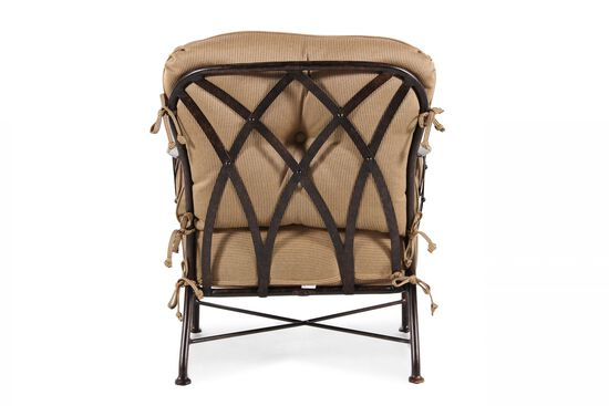 Button-Tufted Aluminum Lounge Chair in Brown