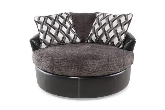 "Oversized Microfiber 58"" Swivel Accent Chair in Smoke Gray"