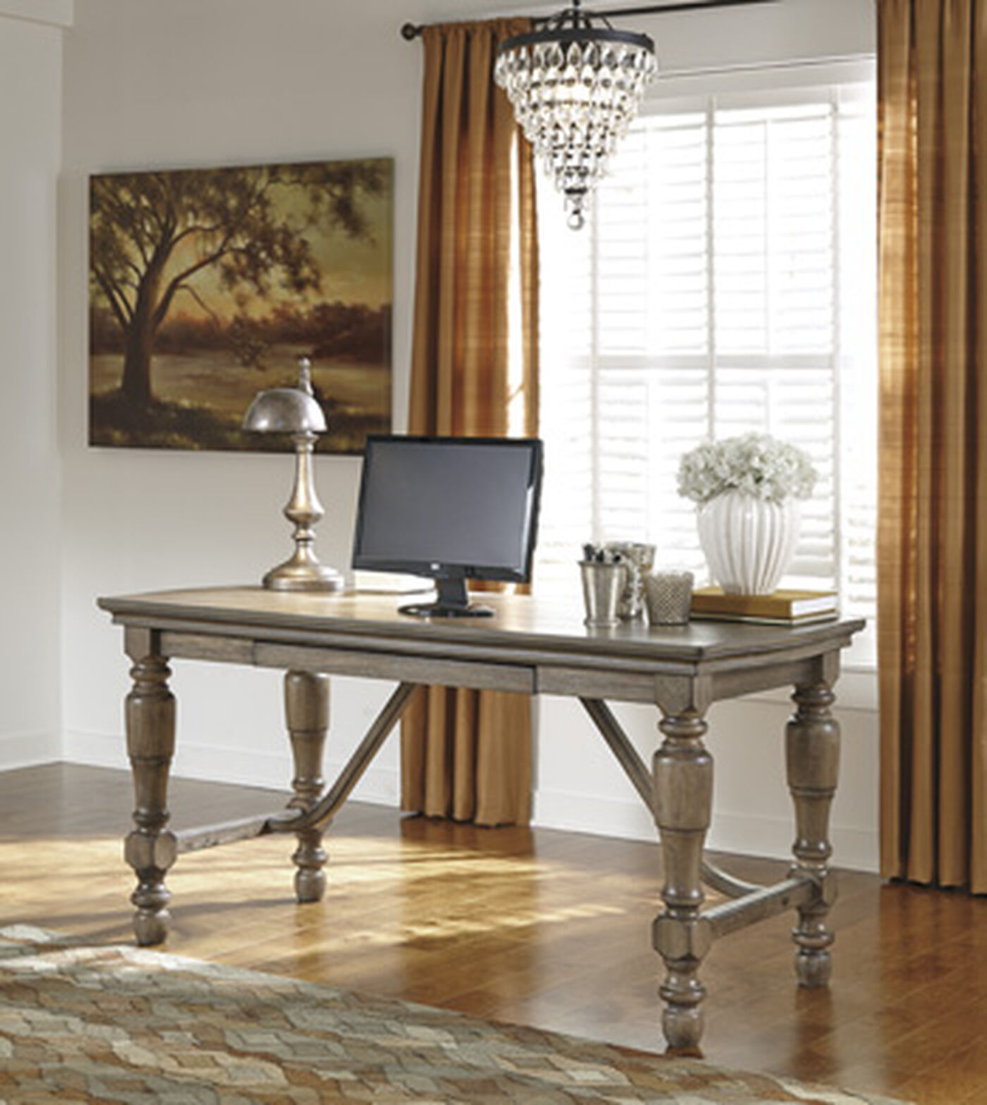 """Casual Home Office Ideas: 61"""" Casual Turned-Leg Desk In Grayish Brown"""