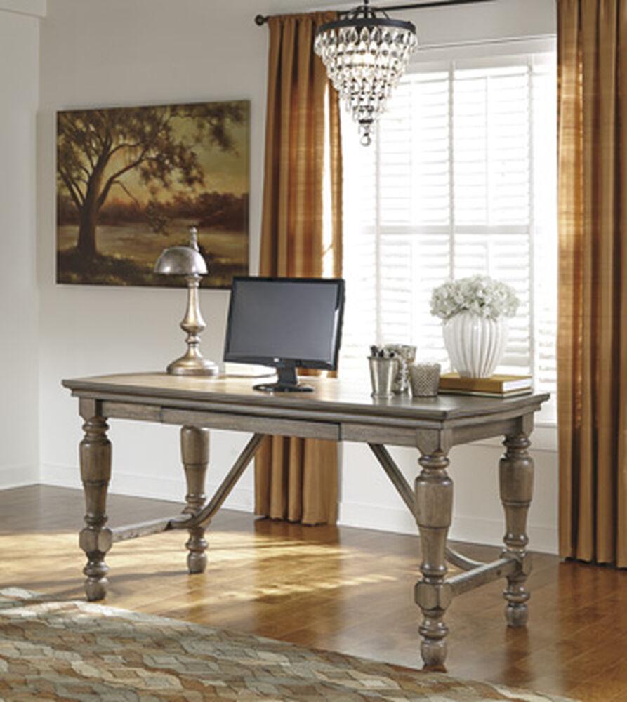 "61"" Casual Turned-Leg Desk In Grayish Brown"