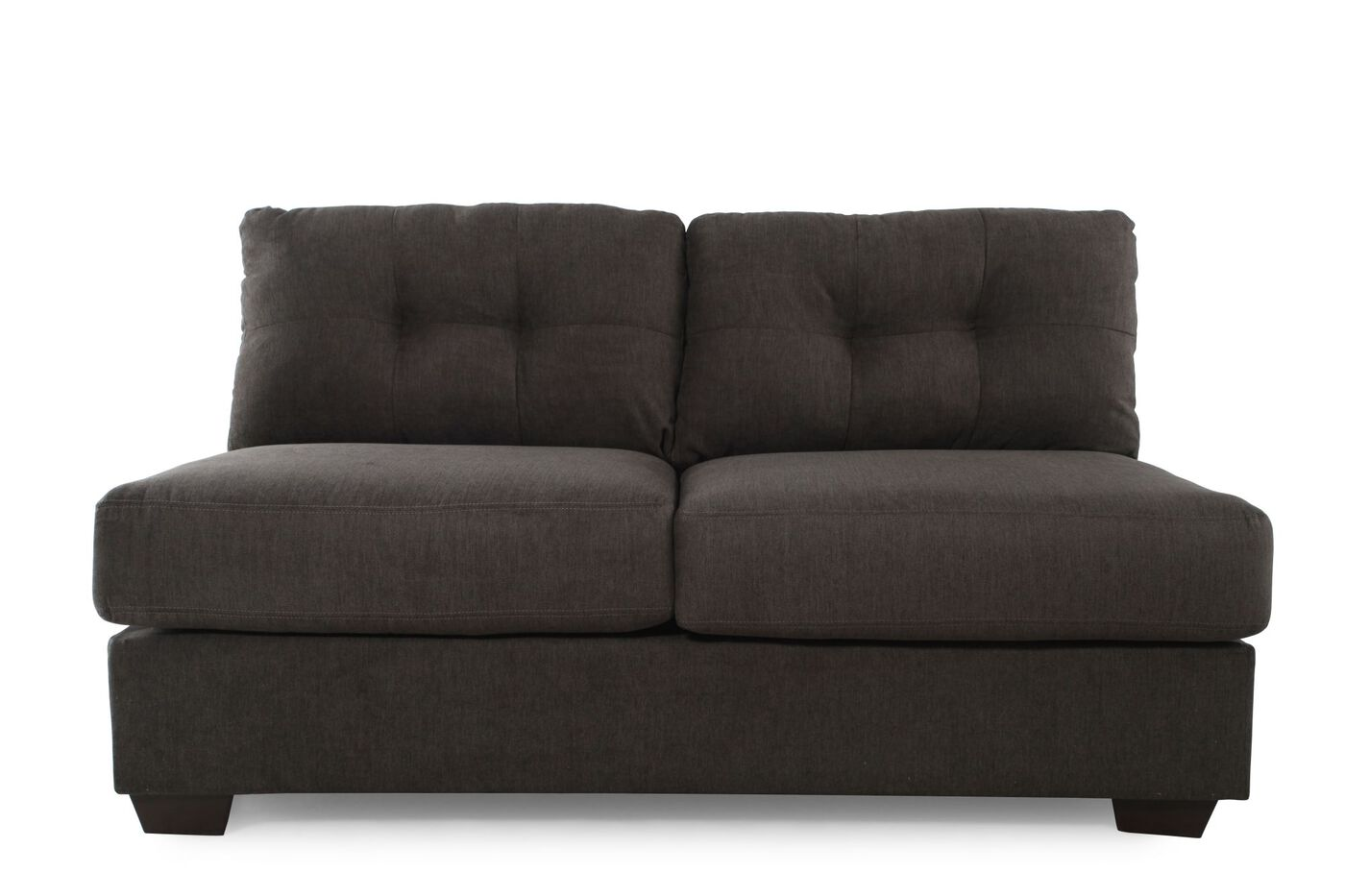 Tufted Microfiber 64 Armless Loveseat In Gray Mathis Brothers Furniture