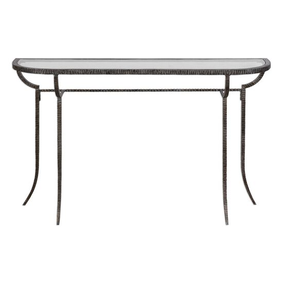 Tribal Textured Glass Top Console Table in Silver