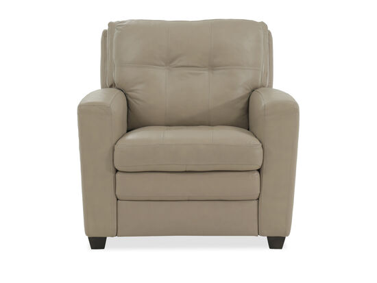"Tufted Leather 36"" Chair in Beige"