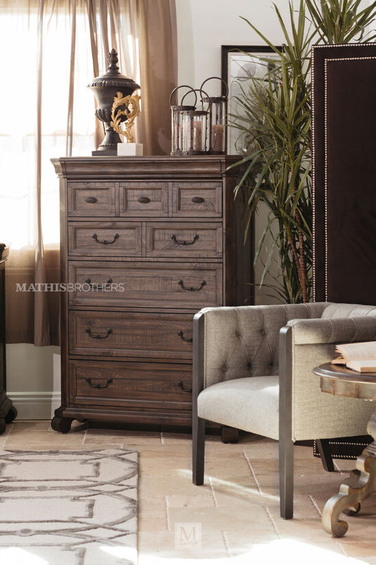 "56"" Contemporary Paneled Drawer Chest in Dark Brown"