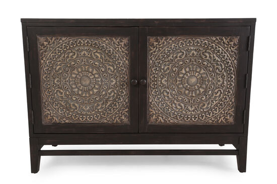 38'' Carved Doors Contemporary Chest in Dark Walnut