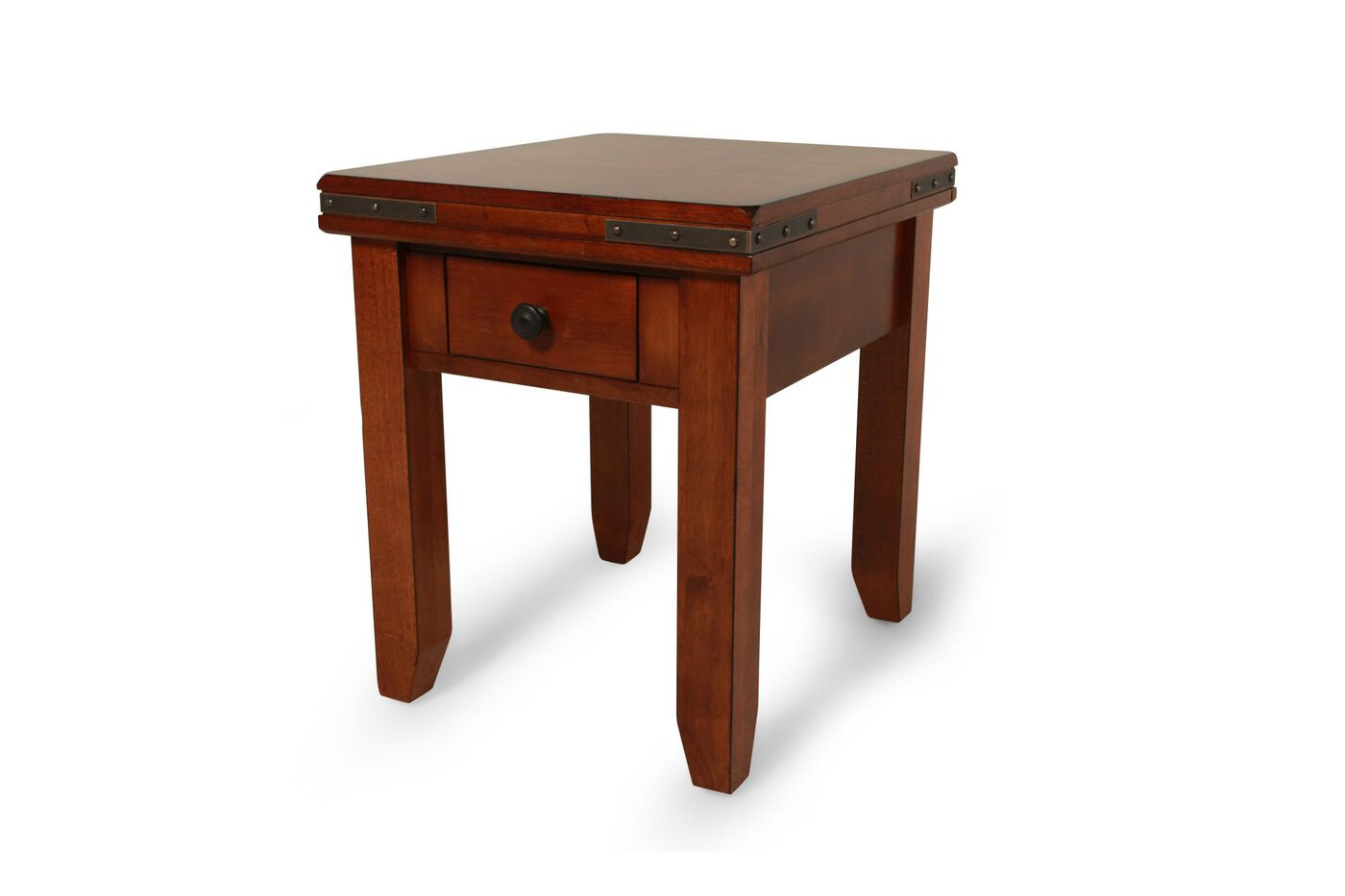 Square Traditional Mango Wood End Table In Warm Brown Mathis Brothers Furniture