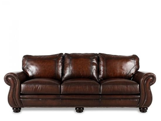 "Nailhead-Accented Leather 100"" Sofa in Brown"