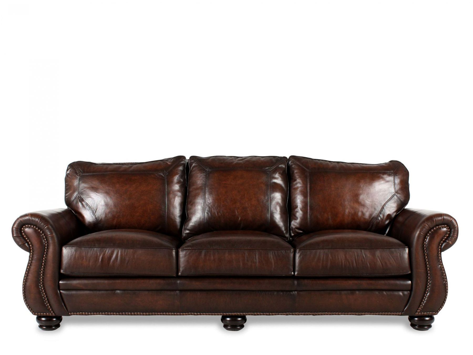 Great Nailhead Accented Leather 100u0026quot; Sofa In Brown
