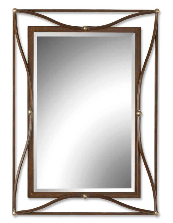 37.5'' Sinuous Frame Rectangular Accent Mirror in Bronze Finish