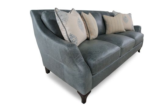 Distressed Leather Sofa in Teal