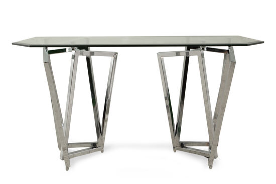Glass Top Contemporary Sofa Table in Silver