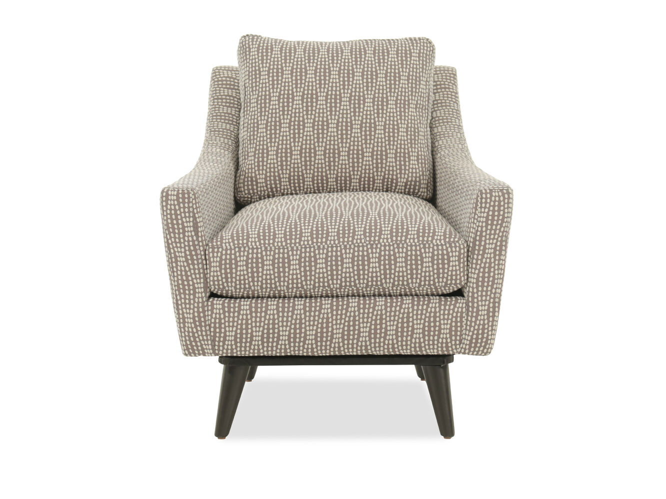 Dot patterned casual 31 swivel chair mathis brothers for Patterned living room chair