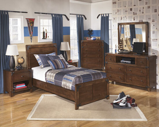 Casual One-Drawer Youth Nightstand in Brown