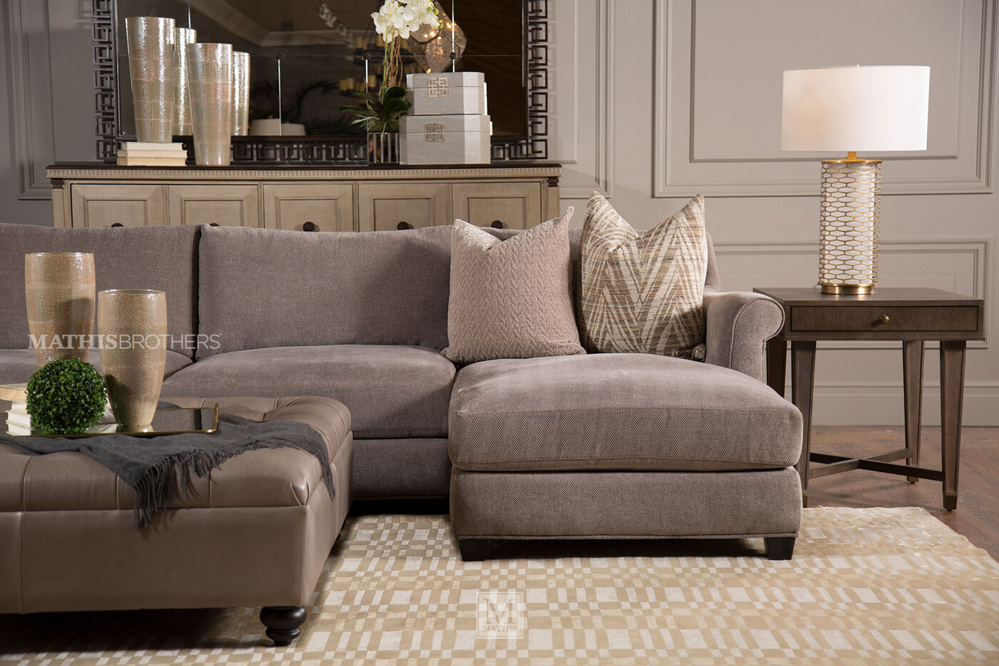 Tufted Contemporary 47 Quot Ottoman In Pewter Mathis