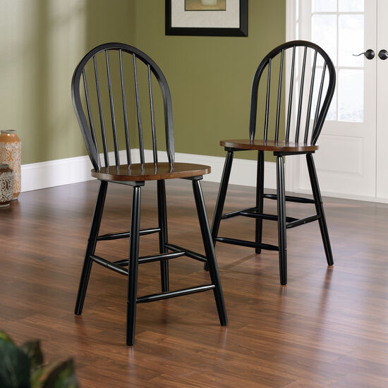 Two-Piece Solid Wood 42.5'' Windsor Dining Chair Set in Estate Black