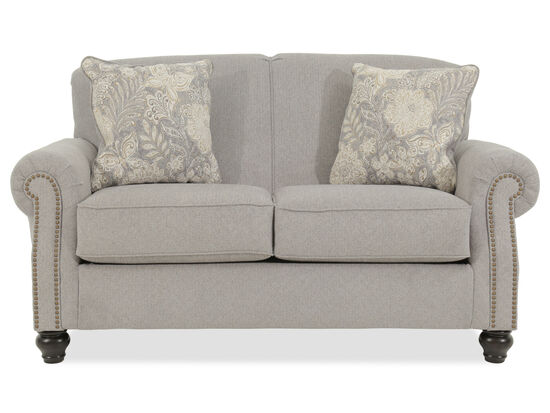 "Chevron Textured Contemporary 68"" Loveseat in Gray"