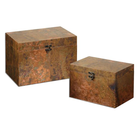 Two-Piece Boxes in Oxidized Copper