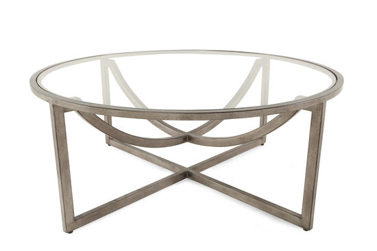 Glass-Top Mid-Century Modern Cocktail Table in Aged Bronze