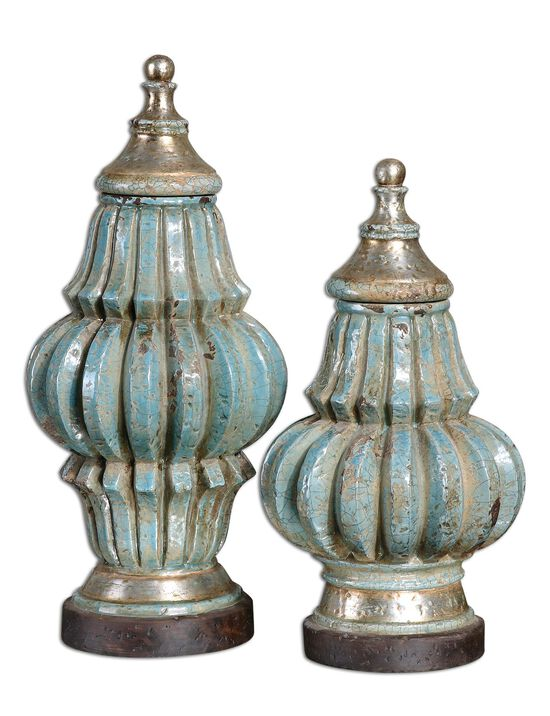 Two-Piece Decorative Urns with Lids in Sky Blue