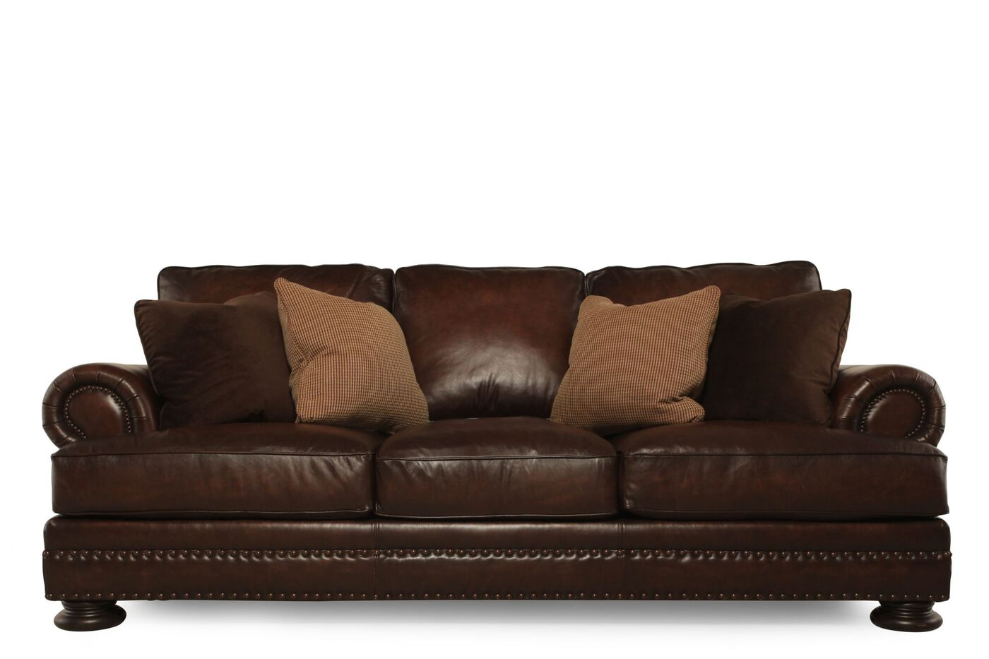 Bernhardt foster leather sofa mathis brothers furniture for Bernhardt furniture