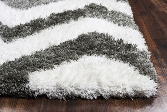 Casual/Shag Hand-Tufted 8'  x  10' Rectangle Rug in Grey