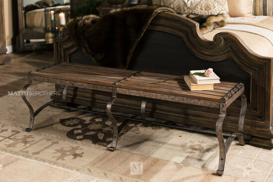 "Refined Romantic Luxury 66"" Bed Bench in Brown"