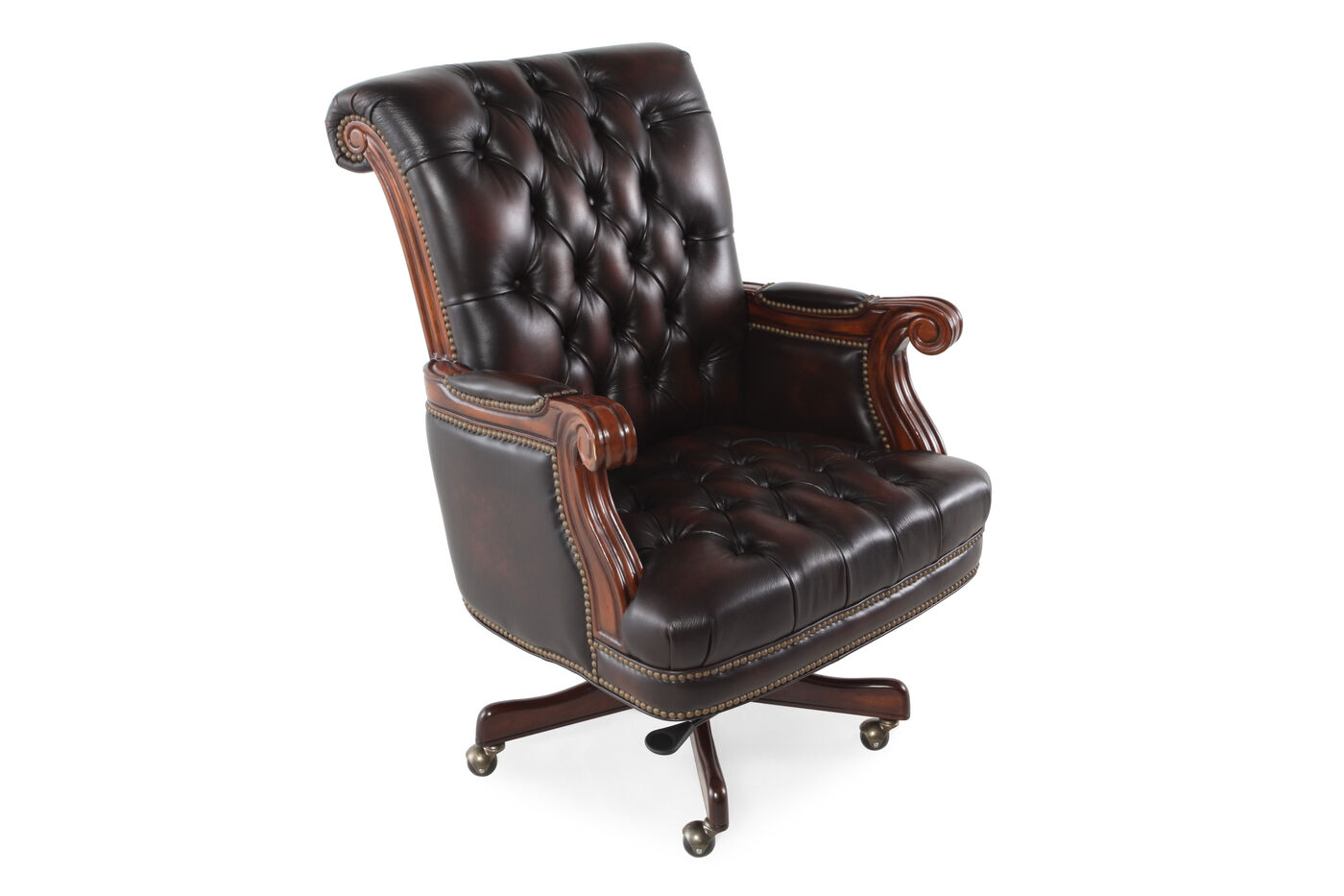 Leather Nailhead Accented Executive Swivel Tilt Chair in Dark ...