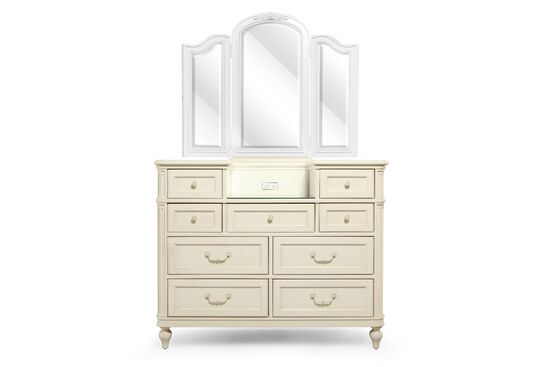 Nine-Drawer Traditional Youth Dressing Chest  in Cream