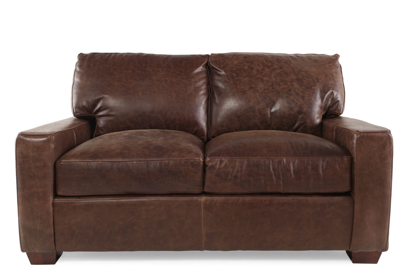 Traditional leather 62 5 loveseat in chestnut brown for Traditional loveseat