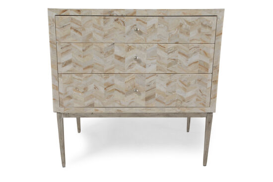 "28"" Contemporary Herringbone-Patterned Three-Drawer Chest"