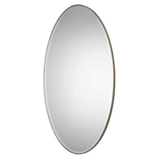 "48"" Beveled Oval Mirror in Antique Silver Leaf"