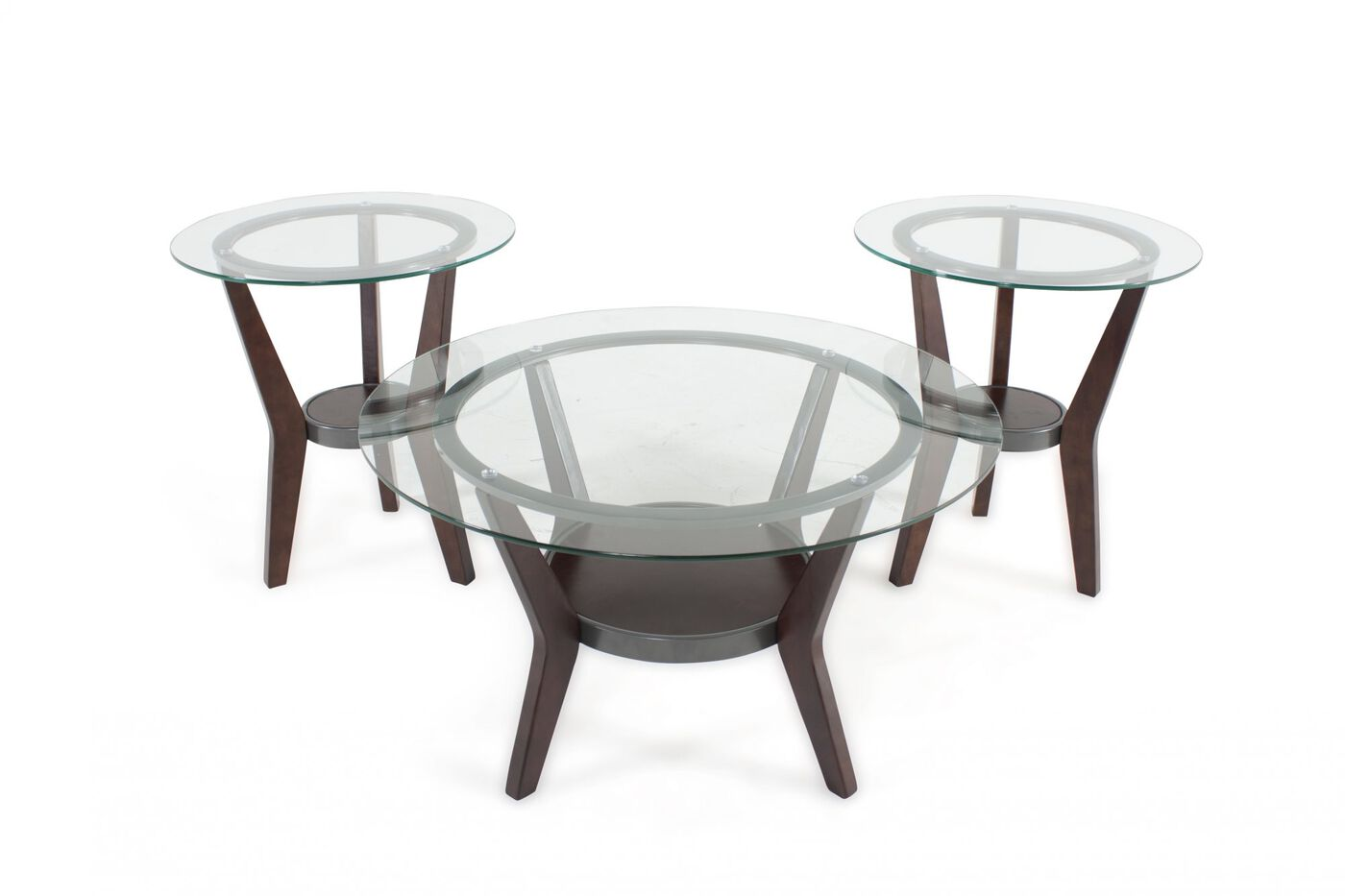 Three piece round contemporary coffee table set in dark for Round contemporary coffee table