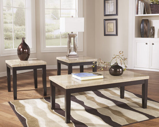 Three-Piece Contemporary Accent Table Set in Dark Brown