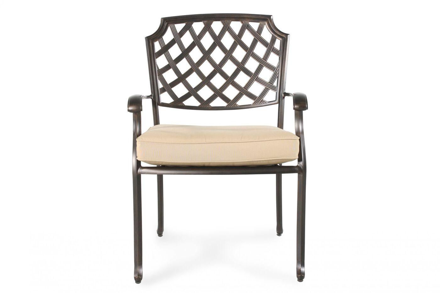 Lattice-Back Aluminum Patio Dining Chair In Brown