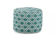 """Moroccan Pattern Traditional 14"""" Ottoman in Turquoise"""