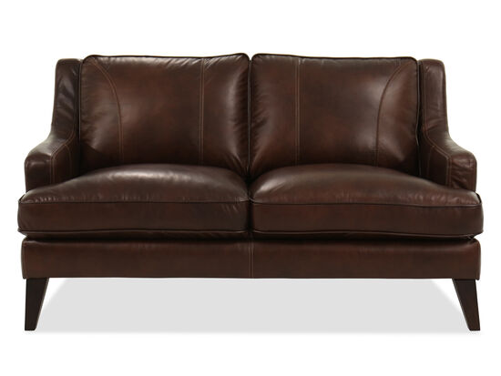 Casual Leather Loveseat in Brown