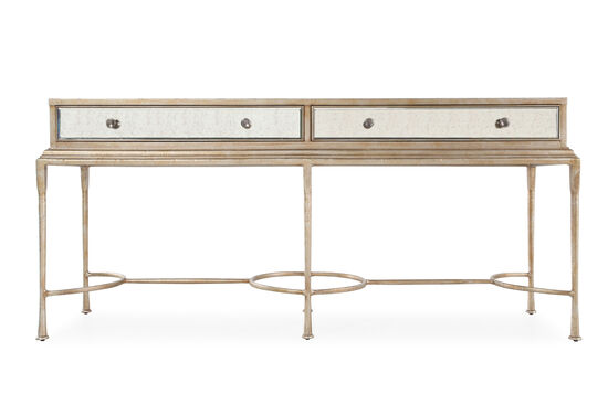 Two-Drawer Traditional Console Table in Antique Gold